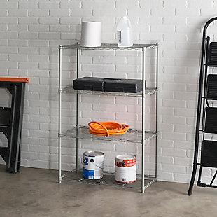 Contemporary Four Tier Multipurpose Wire Shelf, Gray, rollover
