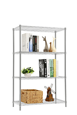 Contemporary Four Tier Multipurpose Wire Shelf, Gray, large