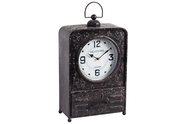 Metal Table Clock With Rustic Finish
