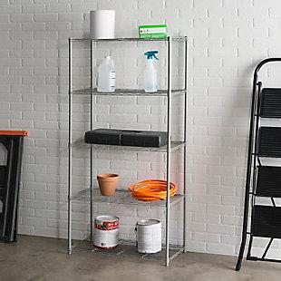 Contemporary Five Tier Multipurpose Wire Shelf, Gray, rollover