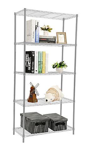 Contemporary Five Tier Multipurpose Wire Shelf, Gray, large