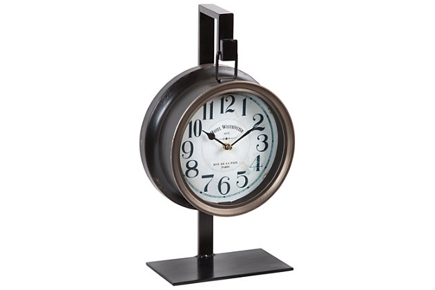 Home Accents Table Clock, Bronze Finish, large