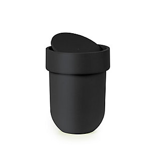 Home Accent 1.6 Gallon (6L) Touch Trash Can with Lid, Black/Gray, rollover