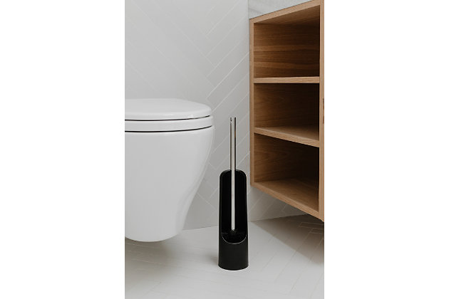 Home Accent Touch Toilet Brush, Black/Gray, large