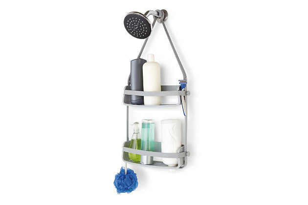 Home Accent Flex Shower Caddy, Black/Gray, large