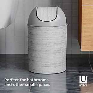 Home Accent Mezzo Swing-Top Trash Can, Black/Gray, large