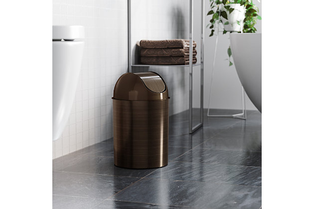 Home Accent Mezzo Swing-Top Trash Can, Brown, large