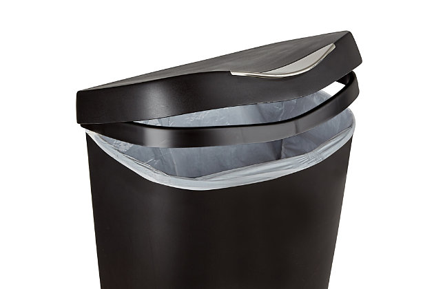 Home Accent Brim 13 Gallon (50L) Trash Can with Lid, Black/Gray, large