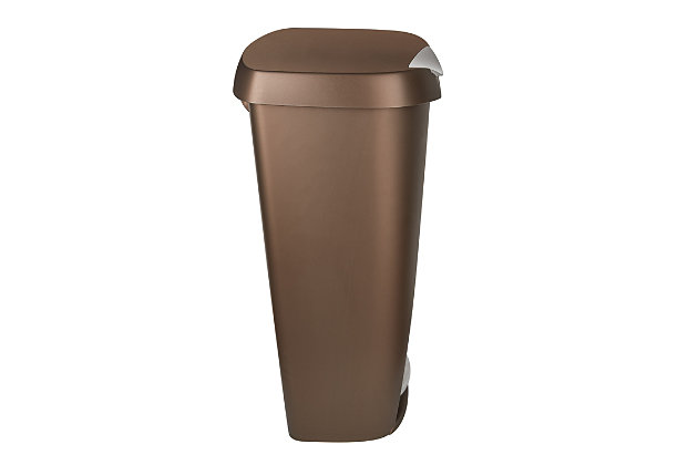 Home Accent Brim 13 Gallon (50L) Trash Can with Lid, Brown/Beige/Metallic, large