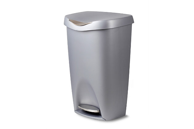 Home Accent Brim 13 Gallon (50L) Trash Can with Lid, Metallic, large