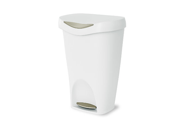 Home Accent Brim 13 Gallon (50L) Trash Can with Lid, Yellow/White, large