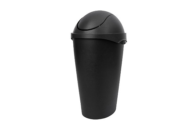 Home Accent Swinger 12-Gallon (45 L) Swing-Top Waste Can, Black/Gray, large