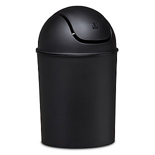 Home Accent Mini Trash Can 1.25-Gallon, Black/Gray, rollover