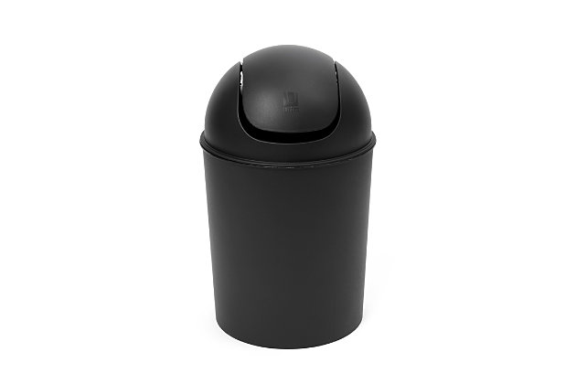 Home Accent Mini Trash Can 1.25-Gallon, Black/Gray, large