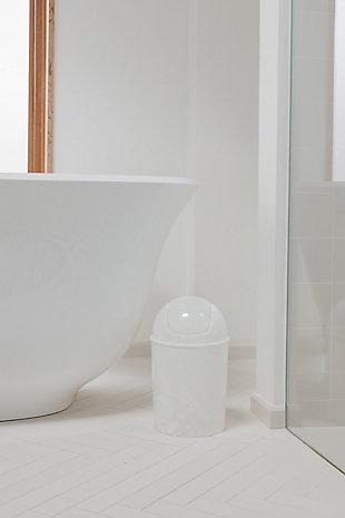 Home Accent Mini Trash Can 1.25-Gallon, White, large