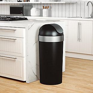 Umbra Venti 16-Gallon (62L) Trash Can, Black/Gray, rollover