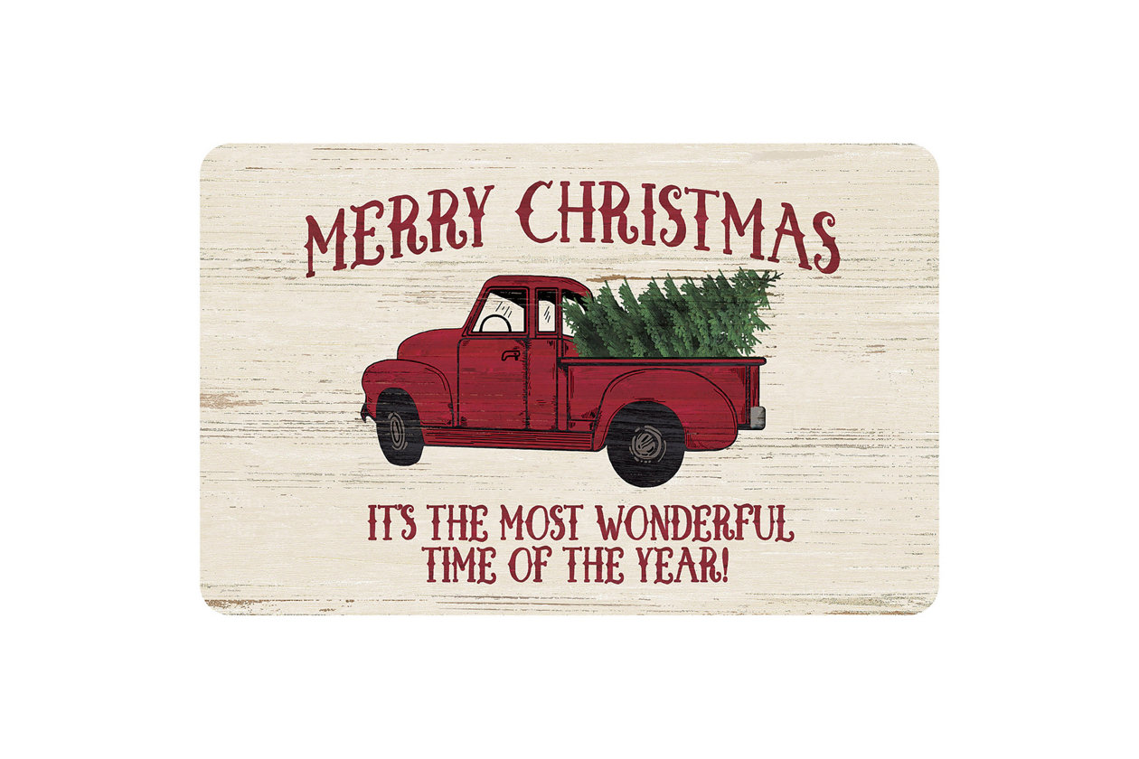 Merry Christmas Red Truck premium tea towel