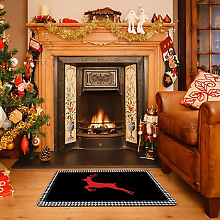 "Christmas  Premium Comfort Holiday Houndstooth Deer 22""x31"" Mat, , rollover"