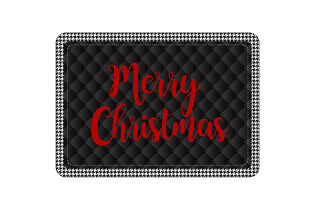 "Christmas  Premium Comfort Holiday Houndstooth Merry Christmas 22""x31"" Mat, , large"