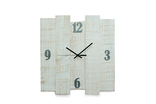 "Bey-Berk White Distressed Wood Wall Clock size 16""x17"", White, large"