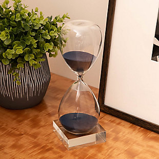 Bey-Berk 60 Minute Sand Timer on Cristal Base with Navy Sand, Blue, rollover