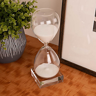 Bey-Berk 60 Minute Crystal Sand Timer on Crystal Base with White Sand, White, rollover