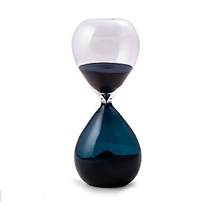 Bey-Berk 60 Minute Blue and Clear Glass Sand Timer with Blue Sand, Blue, rollover