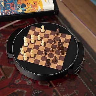 Bey-Berk Leather Wrapped Wood Chess Set, , rollover