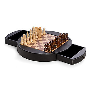 Bey-Berk Leather Wrapped Wood Chess Set, , large