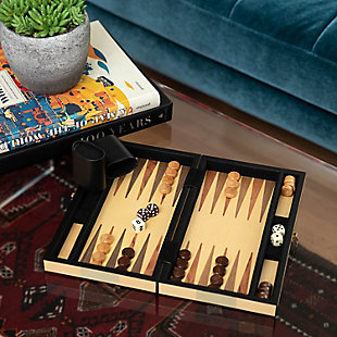 Bey-Berk Birch and Olive Wood Inlay Backgammon Set, , rollover