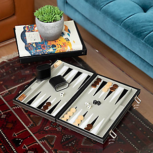"Bey-Berk 15"" Backgammon Set with Chrome Accents, , rollover"