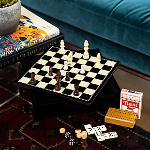 Bey-Berk Black Lacquered Wood Multi Game Set, , rollover