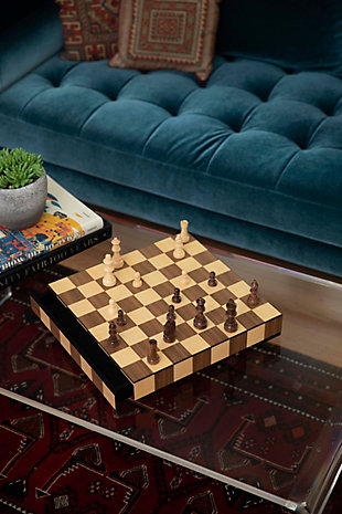 Bey-Berk Matted Inlay Chess and Checkers Set with Storage Drawer, , rollover
