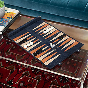 Bey-Berk Navy Suede Roll-up Backgammon Travel Set, , rollover