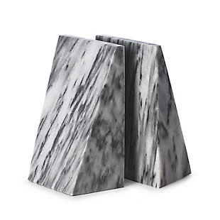 Bey-Berk Carrera Gray Solid Marble Wedge Bookends, , large