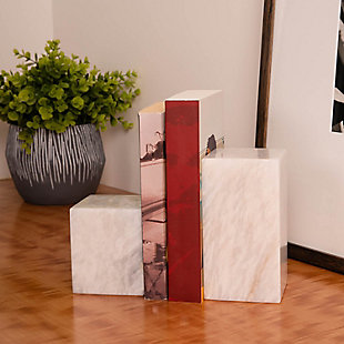 Bey-Berk White Marble Cube Design Bookends, , rollover