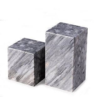 Bey-Berk Gray Marble Cube Design Bookends, , rollover