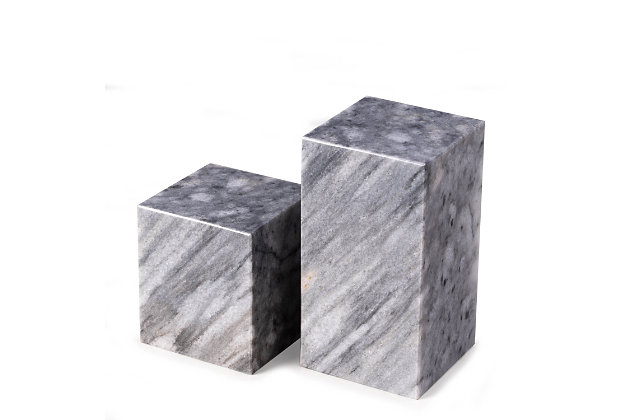 Bey-Berk Gray Marble Cube Design Bookends, , large