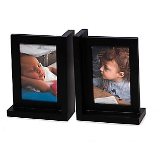 Bey-Berk Black Picture Frame Bookend, , rollover