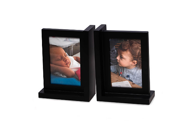 Bey-Berk Black Picture Frame Bookend, , large