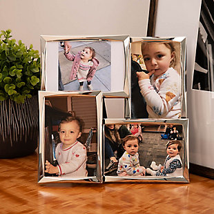 "Bey-Berk Silver Tone 4 Collage 4""x6"" Picture Frame with Easel Back, , rollover"