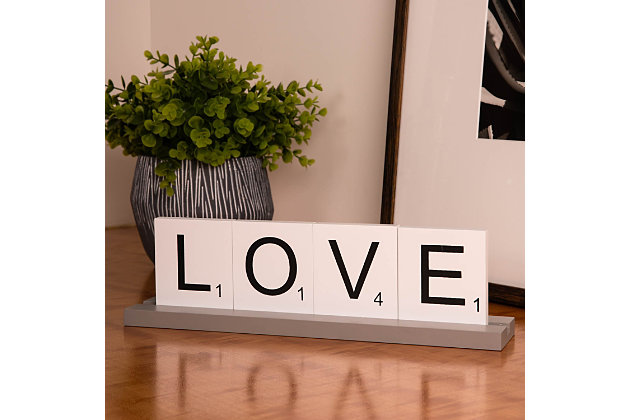 Bey-Berk Love Scrabble Letter Tile Wooden Sign, , large