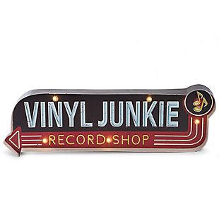 """Bey-Berk """"Vinyl Junkie""""  LED Lighted Sign, , large"""