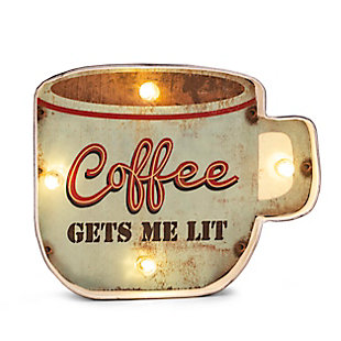 "Bey-Berk ""Coffee Gets Me Lit"" LED Sign, , rollover"