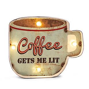 "Bey-Berk ""Coffee Gets Me Lit"" LED Sign, , large"