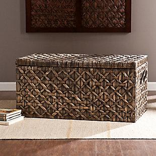 Carley Hyacinth Storage Trunk - Blackwashed, , rollover