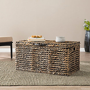 Eira Water Hyacinth Coffee Storage Trunk Table, , rollover