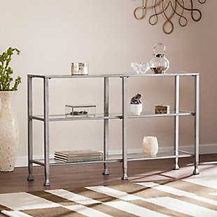 Arryn Metal/Glass 3-Tier Console Table/Media Stand - Silver, Silver, rollover