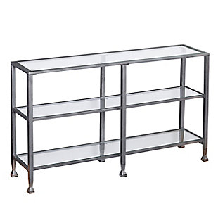 Arryn Metal/Glass 3-Tier Console Table/Media Stand - Silver, Silver, large