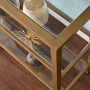 Arryn Metal/Glass 3-Tier Console Table/Media Stand - Silver, Metallic, large